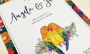 Tropical Lovebirds Wedding Invitations